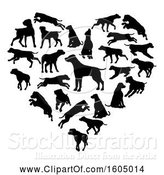 Vector Illustration of Heart Made of Silhouetted Dogs by AtStockIllustration