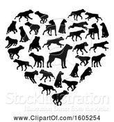 Vector Illustration of Heart Made of Silhouetted Rottweiler Dogs by AtStockIllustration
