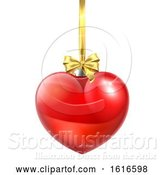 Vector Illustration of Heart Shaped Christmas Ball Bauble Ornament by AtStockIllustration