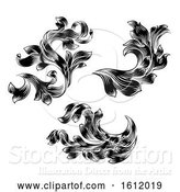 Vector Illustration of Heraldic Floral Filigree Pattern Scroll Design Set by AtStockIllustration