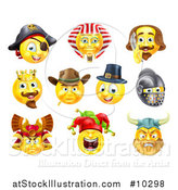 Vector Illustration of Historical Themed Emoji Yellow Smiley Face Emoticons by AtStockIllustration
