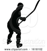 Vector Illustration of Hockey Player Sports Silhouettes by AtStockIllustration