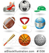 Vector Illustration of Hockey Skate, Soccer Ball, Baseball Cap, American Football, Medal, Helmet, Baseball Bat, Basketball and Golf Ball by AtStockIllustration