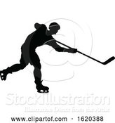 Vector Illustration of Hockey Sports Player Silhouettes by AtStockIllustration