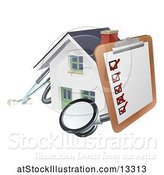 Vector Illustration of Home Inspection Check List on a Clip Board and Stethoscope Against a 3d White House by AtStockIllustration