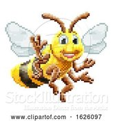Vector Illustration of Honey Bee 8 Bit Pixel Game Art Character by AtStockIllustration