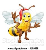 Vector Illustration of Honey Bumble Bee in Santa Christmas Hat by AtStockIllustration