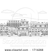Vector Illustration of Houses Shops Street Scene Coloring Outline Art by AtStockIllustration