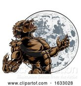 Vector Illustration of Howling Full Moon Werewolf Monster by AtStockIllustration