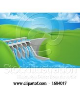 Vector Illustration of Hydro Water Power Dam Generating Electricity by AtStockIllustration