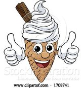 Vector Illustration of Ice Cream Cone Character Mascot Thumbs up by AtStockIllustration