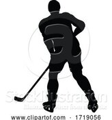 Vector Illustration of Ice Hockey Player Silhouette by AtStockIllustration
