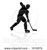 Vector Illustration of Ice Hockey Player Silhouette, on a White Background by AtStockIllustration