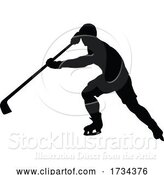Vector Illustration of Ice Hockey Player Sports Silhouette by AtStockIllustration