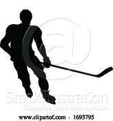 Vector Illustration of Ice Hockey Sports Player Silhouette by AtStockIllustration