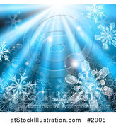 Vector Illustration of Icy Snowflakes in Blue Rays of Light by AtStockIllustration