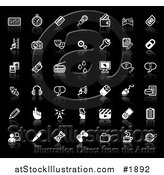 Vector Illustration of Internet Media Application Icons with Reflections, on Black by AtStockIllustration