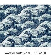 Vector Illustration of Japanese Great Wave Seamless Pattern Background by AtStockIllustration
