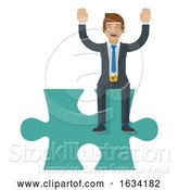 Vector Illustration of Jigsaw Puzzle Piece Businessman Mascot by AtStockIllustration