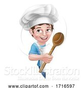 Vector Illustration of Kid Boy Chef Cook Baker Child Sign by AtStockIllustration