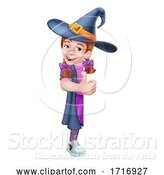 Vector Illustration of Kid Girl Child Halloween Witch Sign by AtStockIllustration