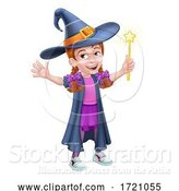 Vector Illustration of Kid Girl Child in Witch Halloween Costume by AtStockIllustration