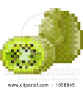 Vector Illustration of Kiwi Fruit Pixel Art 8 Bit Video Game Icon by AtStockIllustration