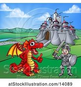 Vector Illustration of Knight and Dragon by a Castle by AtStockIllustration