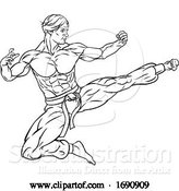 Vector Illustration of Kung Fu Karate Flying Kick Guy by AtStockIllustration