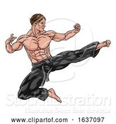 Vector Illustration of Kung Fu or Karate Flying Kick by AtStockIllustration
