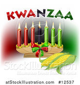 Vector Illustration of Kwanzaa Candles with Corn and Text by AtStockIllustration