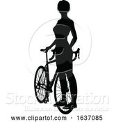 Vector Illustration of Lady Bike Cyclist Riding Bicycle Silhouette by AtStockIllustration