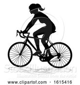 Vector Illustration of Lady Bike Cyclist Riding Bicycle Silhouette, on a White Background by AtStockIllustration