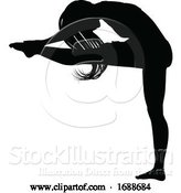 Vector Illustration of Lady Dancer Stretching Silhouette by AtStockIllustration