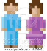 Vector Illustration of Lady Guy Male Female Icon Pixel 8 Bit Game Art by AtStockIllustration