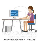 Vector Illustration of Lady Working at Desk in Business Office by AtStockIllustration