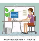 Vector Illustration of Lady Working at Desk in Office by AtStockIllustration