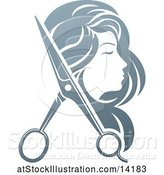 Vector Illustration of Lady's Head in Profile, with Long Hair and Scissors by AtStockIllustration
