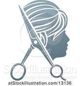 Vector Illustration of Lady's Head in Profile with Scissors by AtStockIllustration