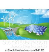 Vector Illustration of Landscape of Renewable Energy Plants with a Dam, Solar Panels, and Wind Turbines by AtStockIllustration