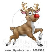 Vector Illustration of Leaping Red Nosed Reindeer by AtStockIllustration