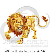Vector Illustration of Leo the Lion with the Zodiac Symbol by AtStockIllustration