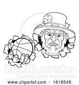Vector Illustration of Leprechaun Basketball Mascot Ripping Background by AtStockIllustration