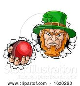Vector Illustration of Leprechaun Cricket Mascot Ripping Background by AtStockIllustration