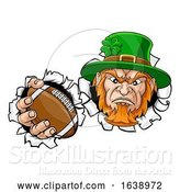 Vector Illustration of Leprechaun Football Mascot Ripping Background by AtStockIllustration