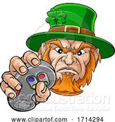 Vector Illustration of Leprechaun Gamer Mascot and Video Games Controller by AtStockIllustration
