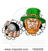 Vector Illustration of Leprechaun Golf Mascot Ripping Background by AtStockIllustration