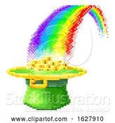Vector Illustration of Leprechaun Hat Rainbow 8 Bit Pixel Art Icon by AtStockIllustration