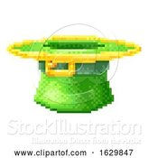 Vector Illustration of Leprechaun Hat St Patricks Day Pixel Art Icon by AtStockIllustration