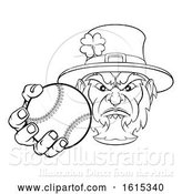Vector Illustration of Leprechaun Holding Baseball Ball Sports Mascot by AtStockIllustration